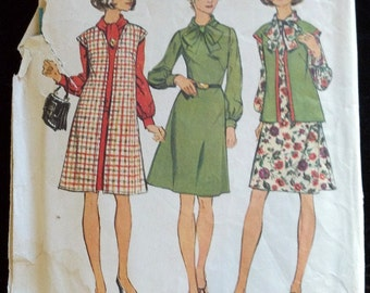 5791 Simplicity Vintage Sewing Pattern 1973 1970's Rosemary's Baby Secretary Mary Tyler Moore Dress Bow A-line Cut Complete