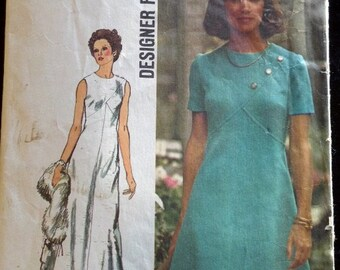 5911 Simplicity Vintage Sewing Pattern 1973 1970's Shift Dress 1960's Designer Gown Fashion A-Line Cut Complete