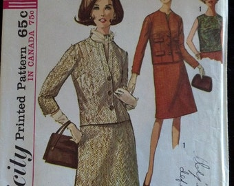 6130 Simplicity Vintage Sewing Pattern 1965 1960's Mad Men Women's Suit Collarless Back Button Blouse A Line Skirt Cut Incomplete
