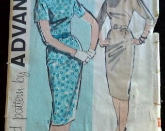 9722 Advance Vintage Sewing Pattern 1960's Womens Mad Men Wiggle Dress Rolled Collar Pencil Skirt Cut Complete