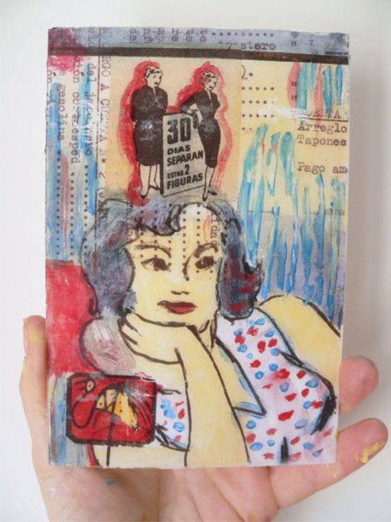 MIxed media acrylic  Vintage Woman in ivory,OOAK red and blue