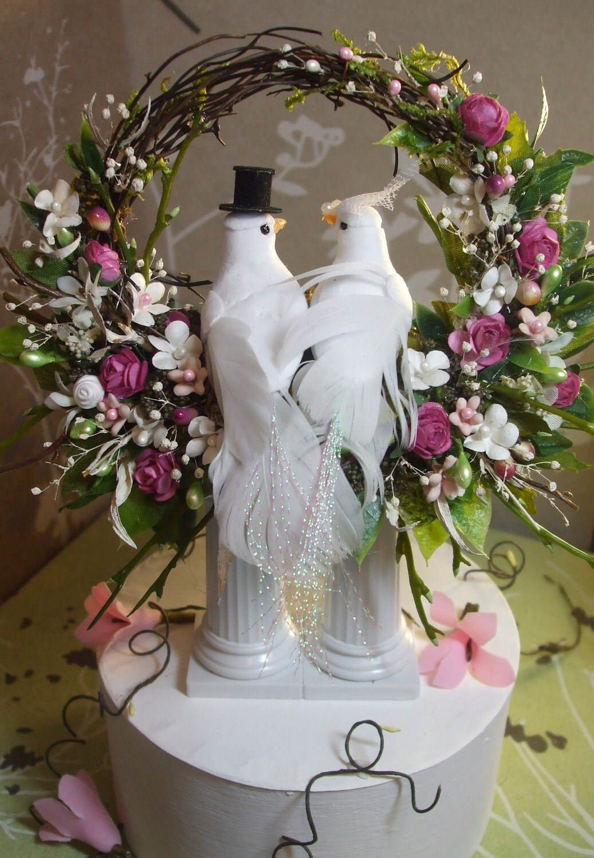 White Doves Birds Flowers Arrangement Wedding Cake Topper