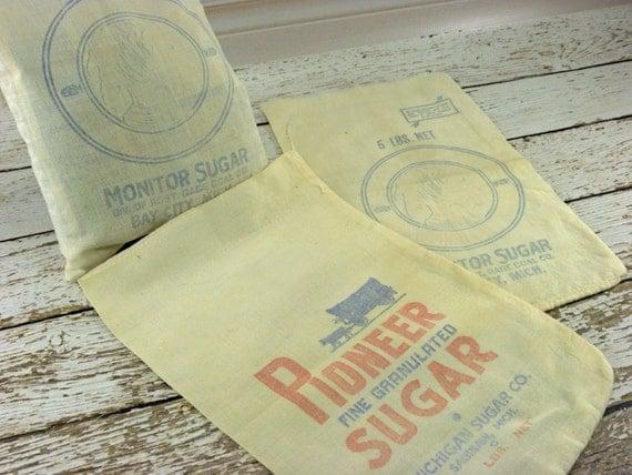 Vintage Cloth Sugar bags 5 LB from Pioneer Sugar and Monitor sugar