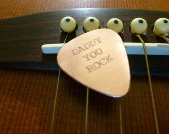 Personalized Guitar Pick - Engraved Copper Guitar Pick - Daddy You Rock-  Boyfriend Gift, , Husband gift,  Summer Sale, Husband, boyfriend