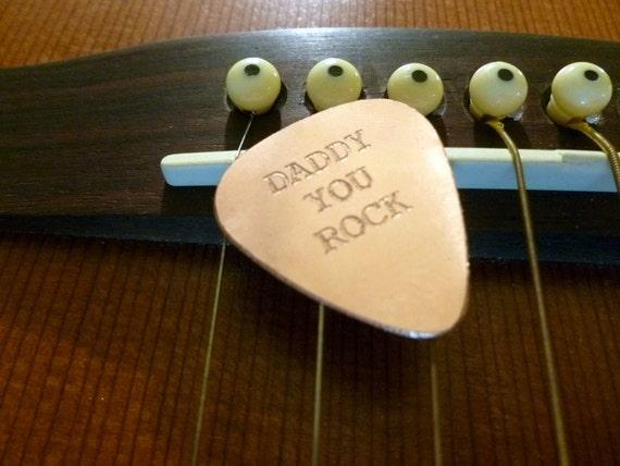 Personalized Guitar Pick - Engraved Copper Guitar Pick - Daddy You Rock-  Boyfriend Gift, Husband gift,  Husband, boyfriend