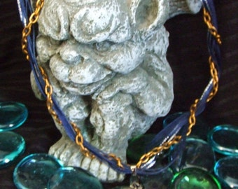 Gold and blue lolita pinup zombie girl Cameo ribbon and chain necklace