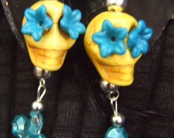 Yellow and Blue Day of the Dead Sugar Skull earrings