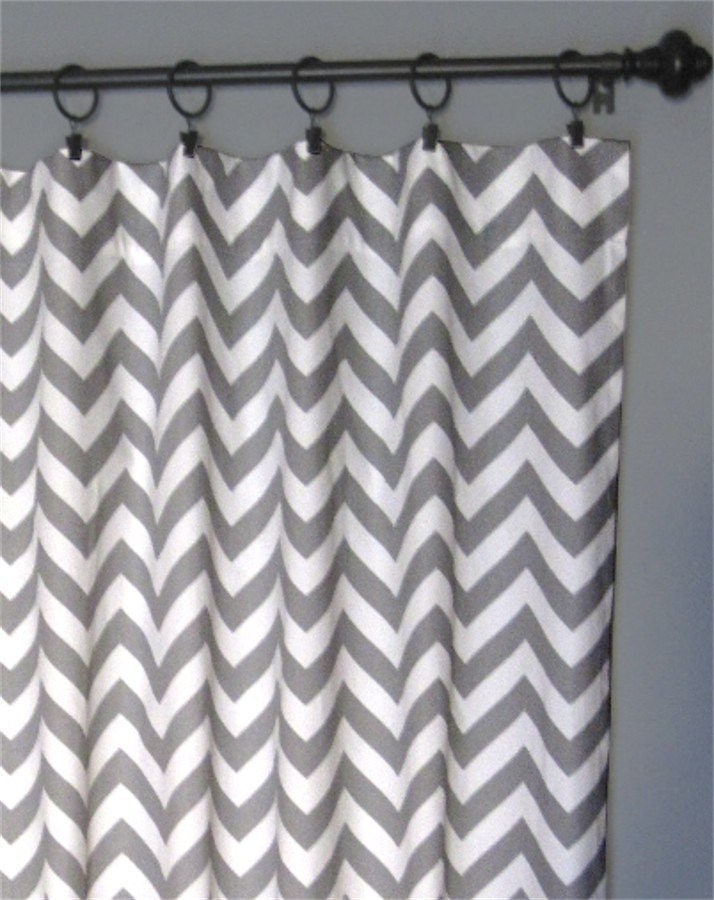 96 Grey Zig Zag Curtains Two Chevron Curtain Panels