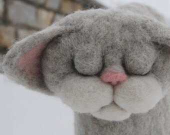 """Felted Coffee Pot Cozy """"Cat Nap"""", Handmade coffee pot cozy, Kitchen Decor, Perfect Housewarming Gift - READY TO SHIP"""