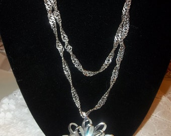 Silver Link Necklace with Flower Brooch
