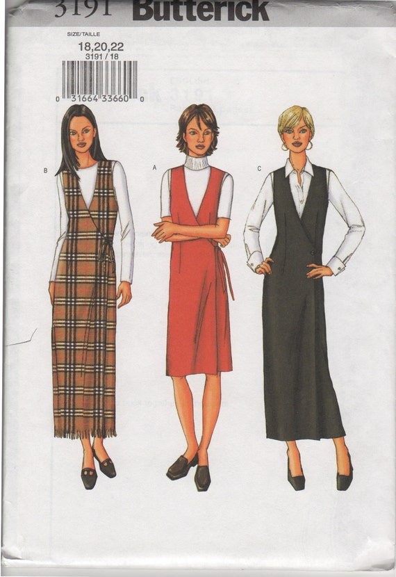 Butterick 3191 OOP Misses' Jumper Sewing Pattern, Size 18-22