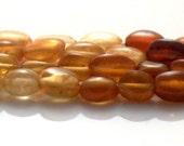"Petite Hessonite Garnet Smooth Oval Beads AA Quality Gemstone Full 17"" Strand For Handmade Jewelry Design"