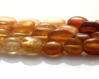 "Petite Hessonite Garnet Smooth Oval Beads AA Quality Gemstone Full 17"" Strand For Handmade Jewelry Design"
