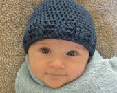 Crochet Boy Blue Pixie Hat (4 Sizes) - PATTERN ONLY