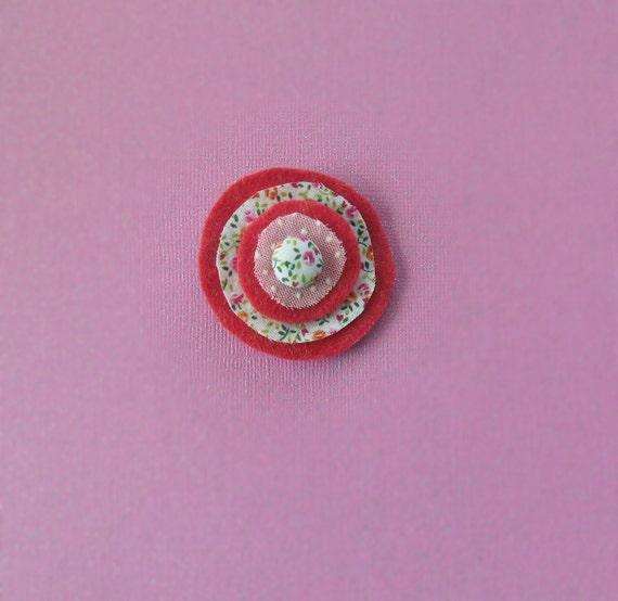 Spring pink hair clip wool felt girl baby teen tween womans clippie / wedding prop / photo prop / summer / flower girl / birthday gift