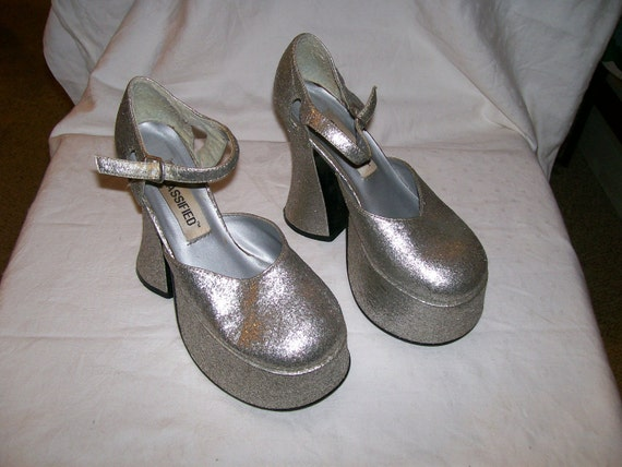 1990s Platform Shoes - Silver Sparkle - Classified - Size Unknown - See Measurements