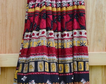 Festival Skirt Pleated Skirt Boho Skirt Tribal Skirt Red Skirt 80s skirt Floral Print Boho Skirt