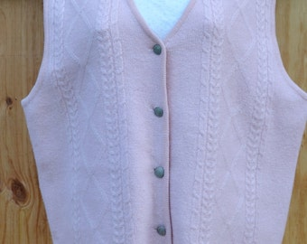 Sweater Vest Pink Sweater Vest Wool Sweater Vest Preppy Sweater Vest Womens Wool Sweater Vest Women's Pink Vest Size Large