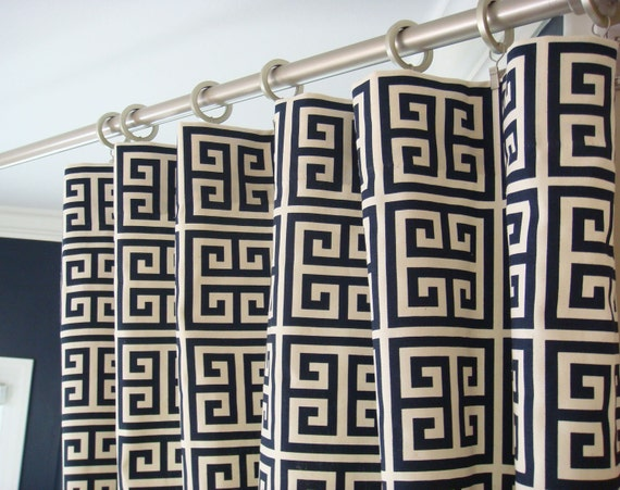 Navy Blue Natural Beige Modern Greek Key Towers Curtains - Rod Pocket - 84 96 108 or 120 Long by 25 or 50 Wide - Optional Blackout Lining