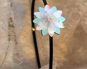 Floral headband, Girl headband, Pastel colors headband, Gift for a girl, Flower headbands for girls, Girls gifts, Light blue headband girl