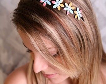 Metal headband, Flower headband, Hair accessories, Pastel colors headband, Adult headband, Women headband, Girl headband, Flower accessories