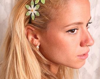 Green headband, Green hair accessory, Women hair accessories, Girls hair accessories, Women headbands, Flower headband, Headbands for girls