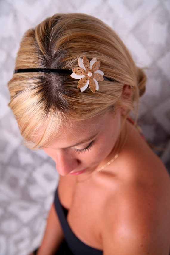 Vintage hair band, Flower headband, Romantic headband, Camel headband, Vintage accessory, Women hair accessory, Women's headbands, Adults