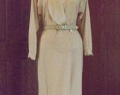1980's Cream Wool Liz Claiborne Coat Dress Size 10