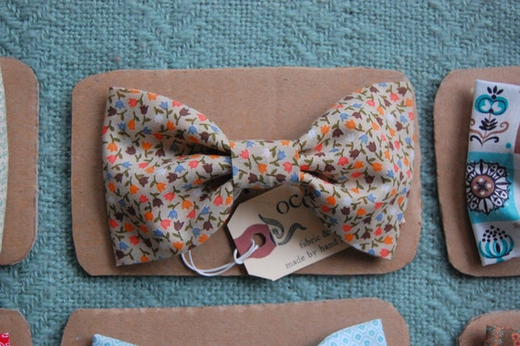 Multicolor Tulip Bow-Tie Hair Clip - Large Vintage Fabric Hair Bow - Orange Pink Blue Floral - Made in France Barrette - For Child or Adult