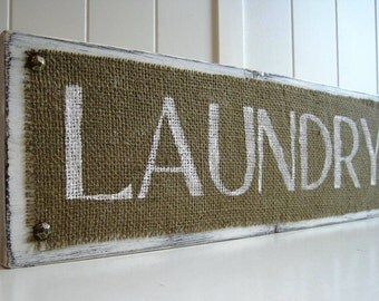 Laundry Room Wood Sign Plaque Burlap White Distressed Shabby Sheik, TradeFare, Decor