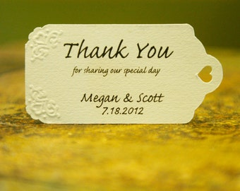Wedding Favor Tags - Hand Embossed (12) - Personalized Thank You Tags, Perfect for Weddings or Party Favors