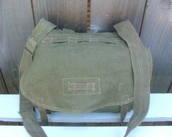 Vintage Czech Linen Military Bag