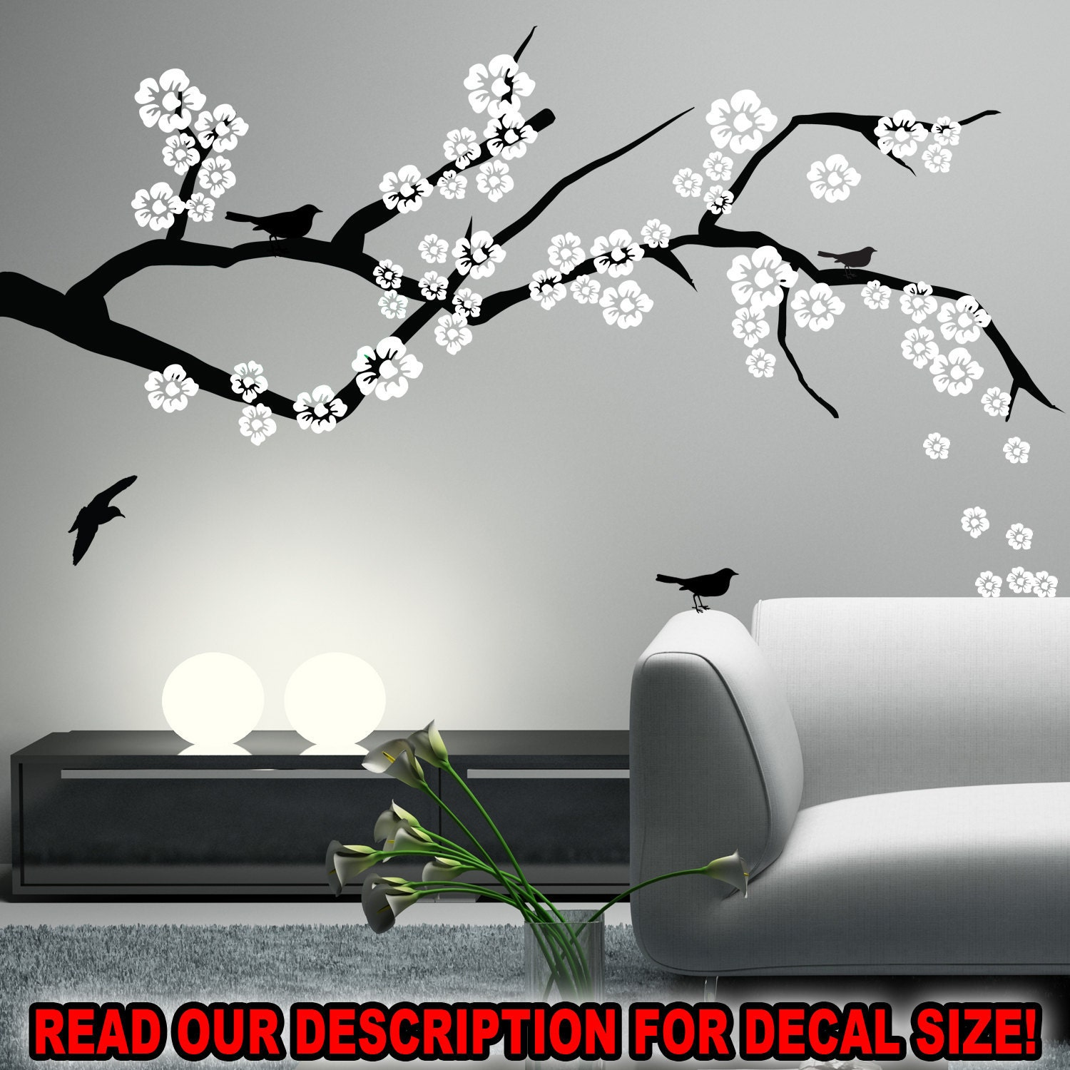 Wall Art Decals Cherry Blossom : Cherry blossom branch wall decal nursery living by happywallz