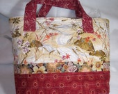 Tote Bag Quilted Asian Floral Fish Design Fabric Lined Handmade Red Cream Brown Yellow Gold