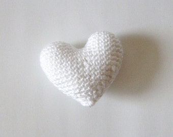 Amigurumi Crochet White Heart - Cake topper - Wedding table decor - Birthday party decoration