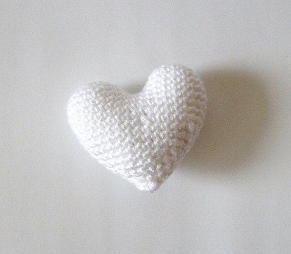 Amigurumi Crochet White Heart - Cake topper - Wedding table decor - Birthday party decoration