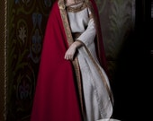 "Medieval Natural Wool Cloak ""Anne of Kiev"" red cloak red cape"