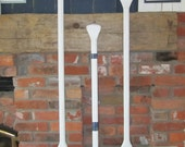 "46"" Tall White Distressed Paddle/Oar with Navy Stripes"