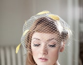 Birdcage Veil with Yellow Feathers