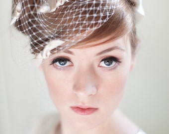 Ivory Birdcage Bridal Veil with Satin bows