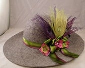 Grey Wide Brimmed hat with Lime Green and Purple Peacock Feathers