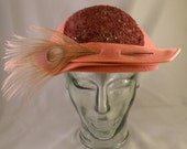 Rose 1950's Felt Perching Hat