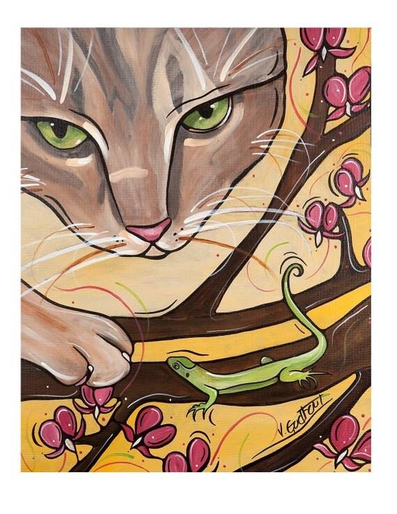 Cat Art Print - Yellow Pet Illustration 8x10 - Cat Artwork. Really Bad Cat with Little Green Worried Lizard