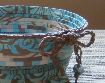 Handmade Paper Bowl in Teal and Brown, Upcycled Paper, Small