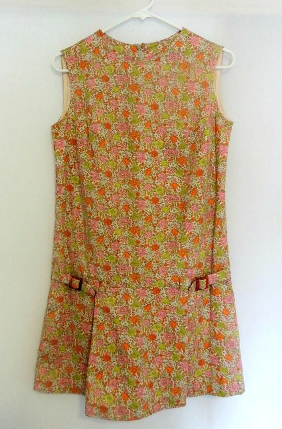 Vintage 60s Mod Scooter Dress Floral Drop Waist Culottes