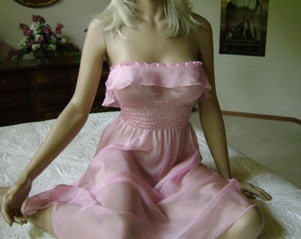 Pink Silk Lingerie Gown in Pretty Pink Iridescent Silk Chiffon and Hand Embroidered Edges