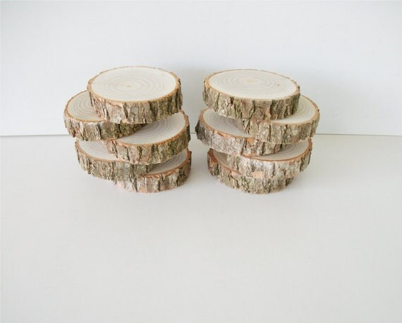 7 Sassafras Wood Slices With Bark For Weddings, Craft Projects, Home Decor, Etc. 2.25 to 2.5 Inches