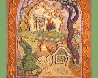 Rabbitat 18 x 24 Poster reproduction of fabric relief embroidery