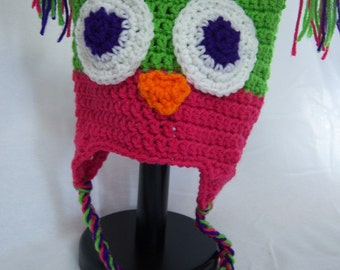 Lime Green & Pink Earflap Owl Hat - 3 to 10 yr old