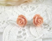 Resin Earrings -  Coral Stud Earrings - Resin Jewelry - 10 mm Resin Rose - Flower Post Earrings